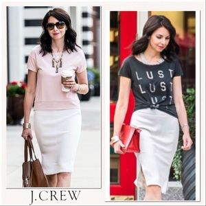 J. Crew Side-slit Soft Pencil Skirt - Lux - ivory